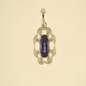 18k White Gold Oval Precious and Diamond Pendant