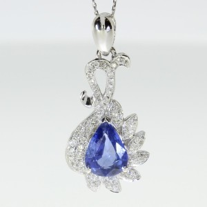 18k White Gold Princess Cut Sapphire and Diamond Pendant