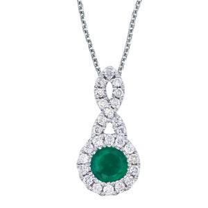 14K White Gold 4mm Round Precious Emerald and Diamond Swirl Pendant