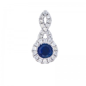 14K White Gold 4mm Round Precious Sapphire and Diamond Swirl Pendant