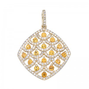 14K Yellow Gold Yellow Sapphire and Diamond Pendant
