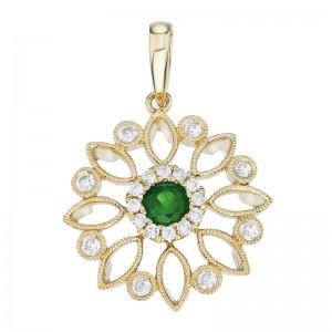 14K Yellow Gold 4mm Emerald and Diamond Filigree Fashion Pendant