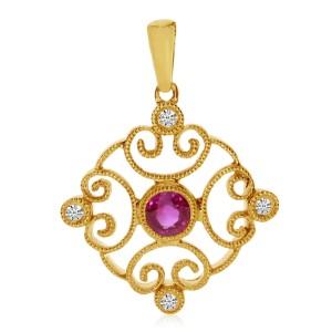 14k Yellow Gold Filigree Precious and Diamond Pendant