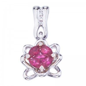 14K White Gold Marquise Ruby and Diamond Precious Flower Fashion Pendant