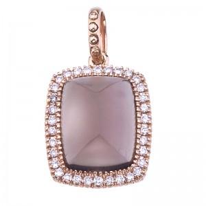 14K Rose Gold 8x6 mm Octagon Smoky Topaz Cabochon and Diamond Pendant