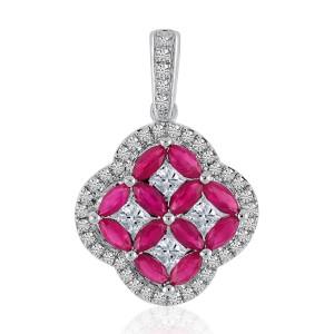 14k White Gold Marquise Precious Clover and Diamond Pendant