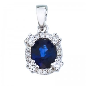 14K White Gold .75 Ct Precious Oval Sapphire and Diamond Halo Pendant