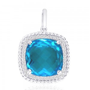14K White Gold 12mm Cushion Blue Topaz Rope Semi Precious Pendant