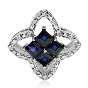 14k White Gold Precious Princess and Diamond Clover Pendant
