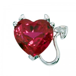 10K White Gold 8 mm Created Ruby Devil Heart Pendant