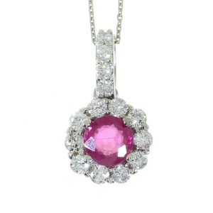 14k White Gold Round Color Fashion Pendant