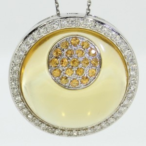 14k White Gold Yellow Sapphire and Diamonds Round Citrine Cabochon PendantWhite