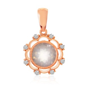 14K Rose Gold Round 7 mm Rose Quartz and Diamond semiprecious Pendant