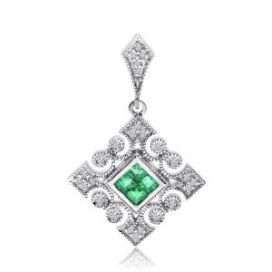 14K White Gold Precious Princess Emerald and Diamond Square Filigree Pendant