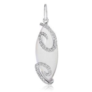 14K White Gold Luminous Marquise Rose Quartz Cabochon with diamond Swirl Fashion