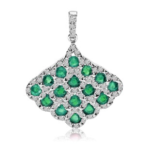 14K White Gold Precious Emerald and Diamond Fan Shape Fashion Pendant