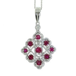 14K White Gold Precious Rubies and Diamond Filigree Triangle Pendant