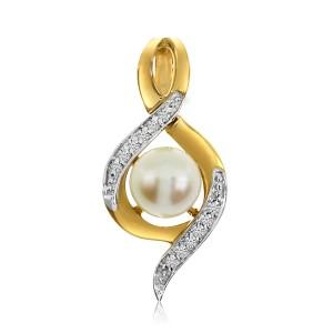 14K Yellow Gold 6 mm Pearl and Diamond Fashion Swirl Pendant