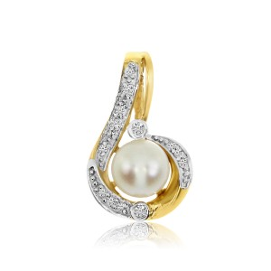 14K Yellow Gold 6 mm Pearl and Diamond Fashion Pendant
