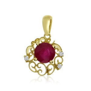 14K Yellow Gold 6mm Round Ruby Precious Filigree Pendant