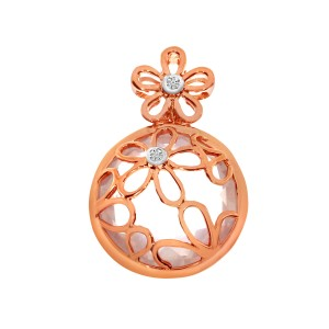 14K Rose Gold Round 14mm Bezel Set Rose Quartz Semi Precious Flower Fashion Pend