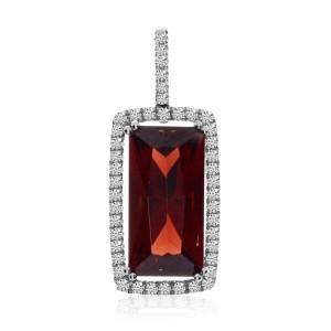 14K White Gold Large Emerald Cut Garnet and Diamond Semi Precious Fashion Pendan