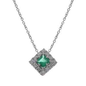 14K White Gold Princess Emerald and Diamonds Precious Fashion Necklace
