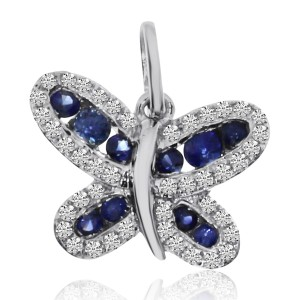 14K White Gold Precious Round Sapphire and Diamonds Butterfly Pendant