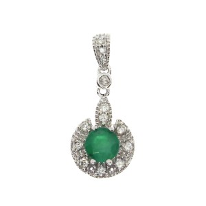 14K White Gold 5mm Round Emerald and Diamond Precious Fashion Pendant