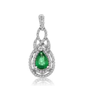 14K White Gold 7x5 mm Pear precious Emerald and Diamond Precious Fashion Pendant
