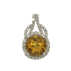 14K White Gold 7mm Round Citrine and Diamond Semi Precious Fashion Pendant