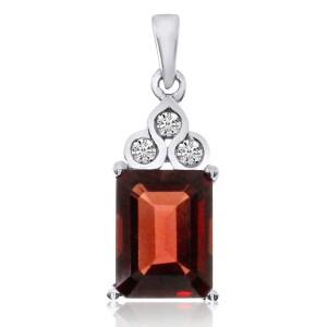14K White Gold 8x6 Emerald Cut Garnet Semi Precious Pendant