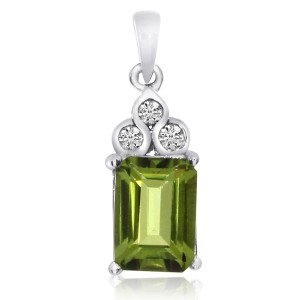 14K White Gold 8x6 mm Emerald Cut Peridot Semi Precious Pendant
