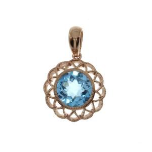 14K Rose Gold Round Blue Topaz Flower Semi Precious Fashion Pendant