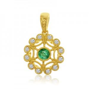 14K Yellow Gold 3.5 mm Precious Emerald and Diamond Round Filigree Pendant