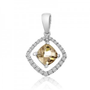 14K White Gold 5mm Cushion Moving Morganite and Diamond Fashion Pendant
