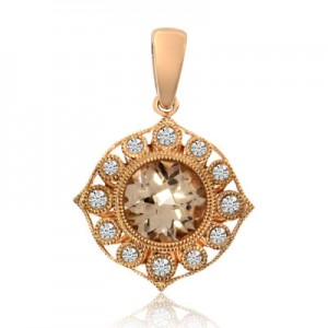 14K Rose Gold 6.5 mm Round Morganite and Diamond Fashion Pendant