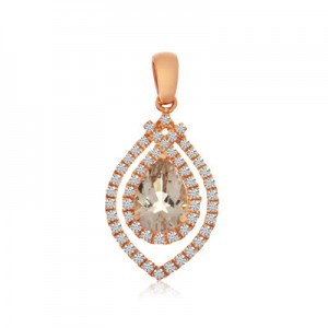 14K Rose Gold 7x5 mm Pear Morganite and Diamond Fashion Pendant