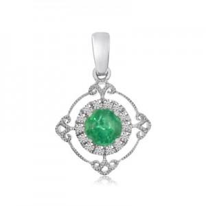 14K White Gold Precious Round Emerald and Diamond Filigree Fashion Pendant