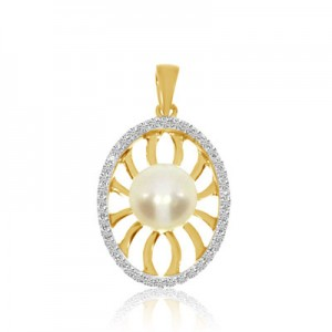 14K Yellow Gold 6 mm Pearl and Diamond Fashion Pendant