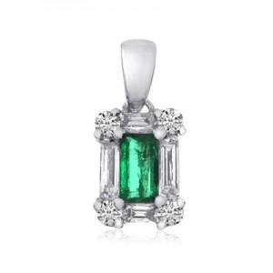 14K White Gold Baguette Diamond and Emerald cut Emerald Precious Pendant