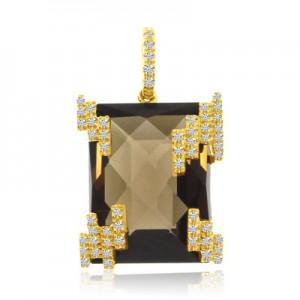 14K Yellow Gold Large Emerald Cut Smoky Topaz and Diamond Semi Precious Fashion