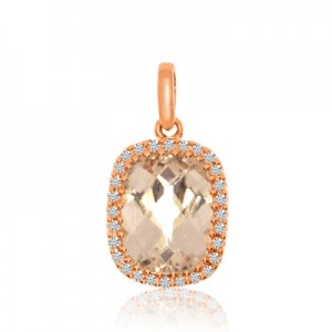 14K Rose Gold 9X7 mm Oval Morganite and AA Diamond Fashion Pendant