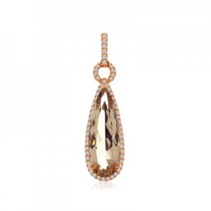 14K Rose Gold 20x7 mm Pear Shape Morganite and AA Diamond Long Fashion Pendant