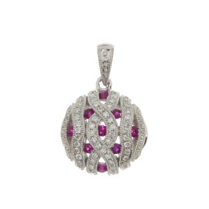 14K White Gold Pave Ruby and Diamond Round Precious Pendant