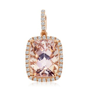 14K Rose Gold 7x5 mm Cushion Morganite and Diamond Fashion Pendant