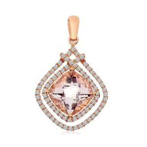 14K Rose Gold 7mm Cushion Morganite and 2 Row Diamond Fashion Pendant