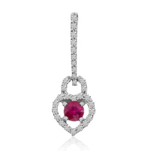 14K White Gold 3.5 mm Round Ruby and AA Diamond Heart Pendant