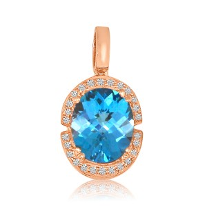 14K Rose Gold 12x10 mm Oval Blue Topaz and Diamond Semi Precious Fashion Pendant