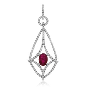 14K White Gold Oval Ruby and Diamond Long Precious Fashion Pendant